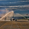 The third Triad Flight of Honor departing Greensboro for Washington D.C. on April 17, 2010 under a water cannon salute.
